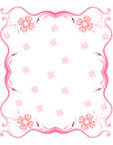 Pink scroll frame with flowers Stock Photography