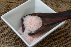 Pink Sea Salt. Pink Himalayan hand-mined  sea salt Stock Photo