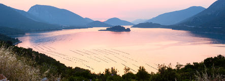 Pink sea sunset panorama (Croatia). Royalty Free Stock Image