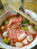 Pink seafood flat noodle Royalty Free Stock Photo
