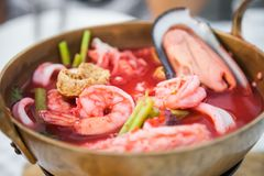 Pink seafood flat noodles Stock Image