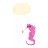 Pink seahorse retro cartoon Royalty Free Stock Photography