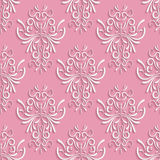 Pink Seamless Background with 3d Floral Pattern. Vector Pink Seamless Background with 3d Floral Pattern and  Backdrop for Greeting or Invitation Card Royalty Free Stock Photography
