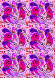 Pink seamless background with purple and crimson paisley patterns Stock Image