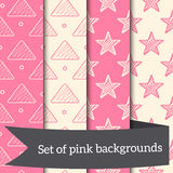 Pink seamless backgrounds. Stars triangles geometry drawing Royalty Free Stock Images