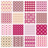Pink seamless backgrounds. Vector 16 pink seamless patterns with hearts for soft backgrounds royalty free illustration