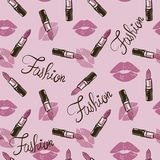 Pink Seamless Cosmetics Pattern With Make Up Artist Objects Stock Images