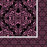 Pink seamless damask Pattern on black. Stock Photography