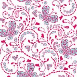 Pink seamless decorative pattern with butterflies hearts embroidery. stock illustration