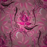 Vector illustration texture. Pink seamless flower pattern. Leaves background. vector illustration texture. Radial gradient shape Stock Photography
