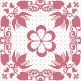 Pink seamless lace lacy pattern on white Royalty Free Stock Image