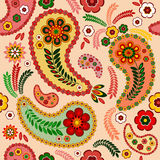 Pink seamless pattern. Gentle pink seamless pattern with paisley and flowers Royalty Free Stock Photos