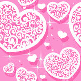 Pink seamless pattern of appliques of hearts Valen. Tine and diamonds Stock Image