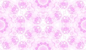 Pink seamless pattern. Attractive delicate soap bu. Bbles. Lace hand drawn textile ornament. Kaleidoscope mandala lingerie print. Classy abstract watercolor royalty free illustration