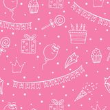 Pink seamless pattern for a birthday with white drawings.  stock illustration