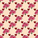 Pink seamless pattern with bouquets of flowers and hearts. Royalty Free Stock Photo