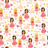 Kids ornament. Pink seamless pattern with cute little princess. vector illustration