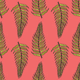 Pink seamless pattern of ferns Royalty Free Stock Photo