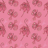 Pink seamless pattern with flowers. Royalty Free Stock Photography