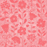 Pink seamless pattern. Pink seamless pattern with flowers, butterflies and dragonflies. Bright background. Endless texture can be used for wallpaper, pattern Stock Photography