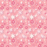 Pink seamless pattern with flowers and stars.  Stock Photography
