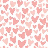 Pink seamless pattern Funny hearts Repeat pink background for girls vector fabric design. Pink seamless pattern Funny hearts Repeat pink background for girls royalty free illustration