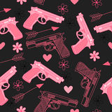 Pink seamless pattern with guns,love, arrow, hearts and flowers. Happy Valentine`s Day vector illustration