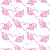 Pink seamless pattern with hearts on a backround. Stock Photo