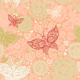 Pink seamless pattern with lacy butterflies Stock Photos