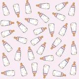 Pink seamless pattern with milk bottles Stock Image