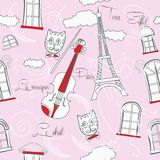 Pink Seamless pattern with music and city Stock Images
