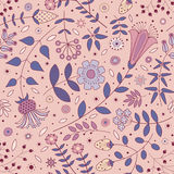 Pink seamless pattern of ornamental flowers, plants, leaves and small circles. Royalty Free Stock Photo
