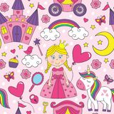 Pink seamless pattern with princess and unicorn vector illustration