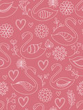 Pink seamless pattern with swans. Pink seamless pattern with swans, hearts and flowers Royalty Free Stock Photo