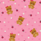 Pink seamless pattern with teddy bear Royalty Free Stock Photography