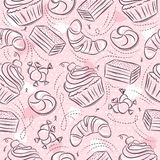 Pink Seamless Patterns with cupcake, croissant, cake and bonbon on grunge background. Ideal for printing onto fabric and paper or stock images