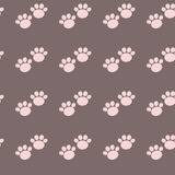 Pink seamless paw pattern Royalty Free Stock Images