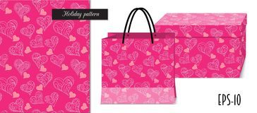Pink seamless valentine pattern with packing mockup. Seamless romantic pattern with hand drawn ornamental hearts for valentine pack paper, packing gift, fabric Stock Image