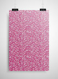 Pink sequin poster on the wall. Eps 10. Stock Photos