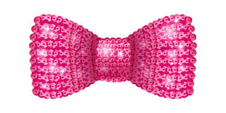 Pink sequins bow tie. Glamourous glitter formal wear. Decoration element Royalty Free Stock Photos