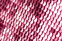 Pink sequins fashion fabric shine. On blur background stock image