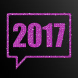 Pink sequins numbers 2017. Speech bubble. 2017 Happy New Year background for your card. Sparkle glitter background. Glittering Pink sequins frame. Speech bubble Stock Photos