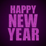 Pink Sequins text Happy New Year. Stars. Happy New Year background for your card. Sparkle glitter background. Glittering Pink sequins frame Royalty Free Stock Image