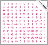 Pink set of 126 shiny icons Stock Image