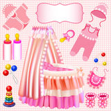 Pink set of childrens cradle beanbag booties slide Royalty Free Stock Photography
