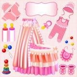 Pink set of childrens cradle beanbag booties slide. Illustration of a pink set of childrens cradle beanbag booties sliders Royalty Free Stock Photography