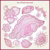 Pink set of floral elements, hand-drawing. Stylized flowers, leaves, buds, blossoms. Delicate floral elements for greeting cards. Stock Photography