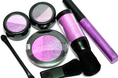 Pink set for make-up. Eyeshadows, rouge, blusher and gloss Stock Photo