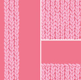 Pink set of three knit textile seamless patterns Stock Photo