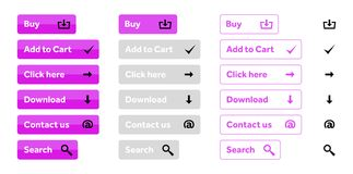 Pink set of web buttons with icons. Pink set of web buttons Buy, Add to cart, Click here, Download, Contact us and Search with black icons stock illustration